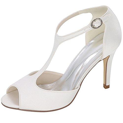 Loslandifen Donna T-strap Pumps In Raso Con Fibbia Stiletto Tacco Alto Scarpe Da Sposa Bianche