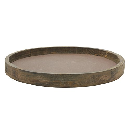 Stonebriar Rustic Natural Wood and Metal Candle Holder Tray, Home Decor Accessories for the Coffee Table and Dining Table, Large (Holder Candle Rectangular)
