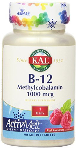 KAL B-12 Methylcobalamin Active Melt Raspberry Tablets, 1000 mcg, 90 Count by Kal