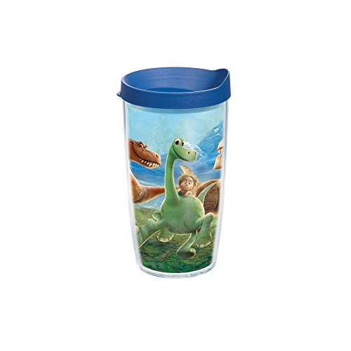 Tervis Dino Adventure Individual Wrap Tumbler with Blue Lid, 16 oz, Clear