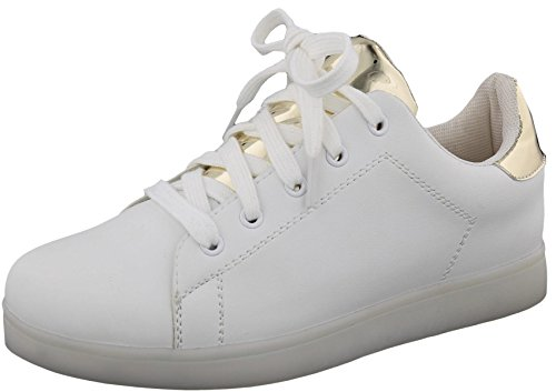 Top Moda Womens Led Light Up Classique Lace-up Plate-forme Mode Sneaker Blanc / Or Clair