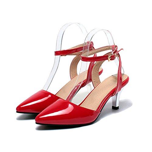 AllhqFashion Mujeres Tacón de aguja Sólido Hebilla Sandalias con Cierre de tobillo Rojo