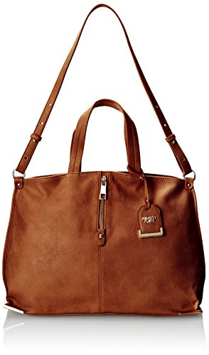 POVERTY FLATS by rian Tote W/Metal Corners Shoulder Bag, Brown, One Size (Flats Poverty)