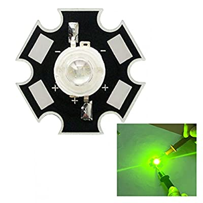 Led World 5pcs 1W 3W High Power LED 560-565NM Yellow-Green Led Diode with 20mm Star Heatsink