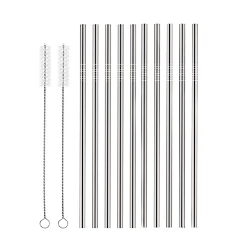 Price comparison product image Set of 10 Stainless Steel Straws,  HuaQi Straight Reusable Drinking Straws 10.5'' Long for 30 oz Tumbler and 20 oz Tumbler,  2 Cleaning Brush Included (10 Straight Straws + 2 Brushes
