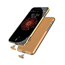 iPhone 6/6S/7 Battery Case, Ultra Slim Extended Battery Charging Case for iPhone 6 / 6s/7 (4.7 inch) with 1500mAh Real Capacity (Gold)