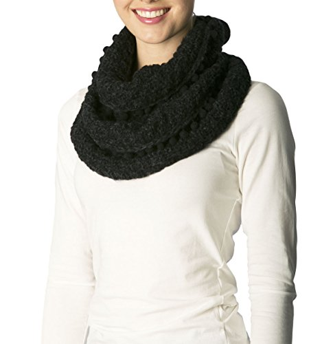 Apparelism Women's Winter Plaid Knitted Infinity Loop Scarf with Pom Pom Fringe(7255-Black) - Edge Loop Fringe