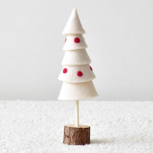 Wool Felt Colored Wool Fans Your Christmas Tree Desktop Small Christmas Ornaments Decorations for Living Room Desk Bedside Table (Size : All White Cone)