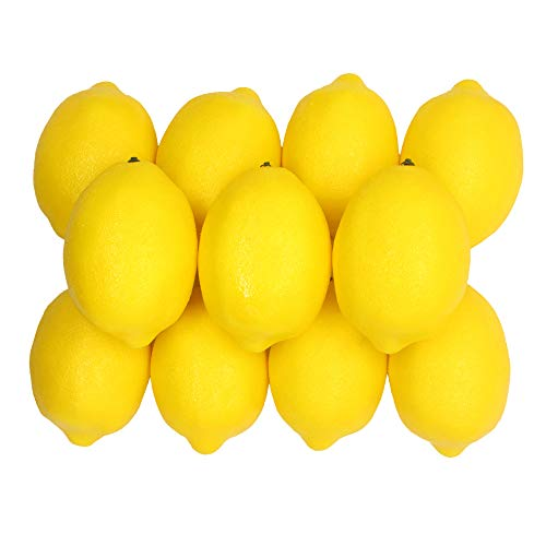 Grace Florist 12pcs Artificial Lifelike Simulation Lemon Fake Fruit for Home Kitchen Display Window Party Decoration (Yellow)