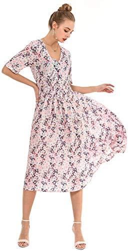 Wantdo Women's Maxi Dress Casual Full Length Dresses Flower Pattern Orange XXL