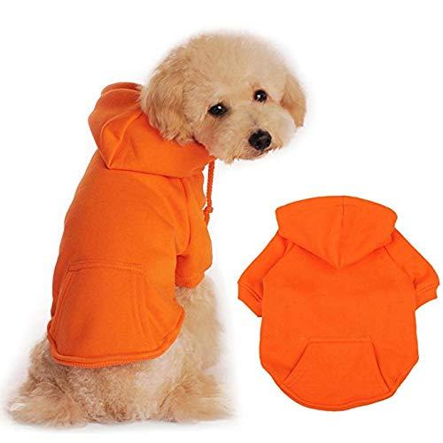 BaoZhang Pet Fleece Hoodies Basic Cotton Sweatshirt with Pocket Puppy Cat Winter Jacket Dog Cold Weather Coats,Orange XS ()