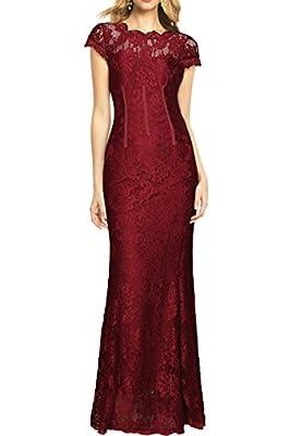 MUSHARE Women's Floral Lace Elegant Wedding Maxi Bridesmaid Long Dress
