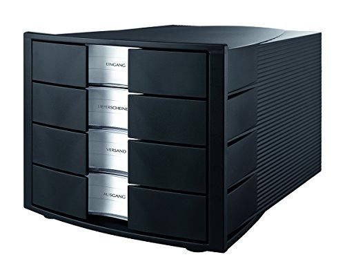 HAN 1010-X-13, Schubladenbox IMPULS, Innovatives, attraktives Design in höchster Qualität. Mit großem Beschriftungsfeld und 4 geschlossenen Schubladen, schwarz
