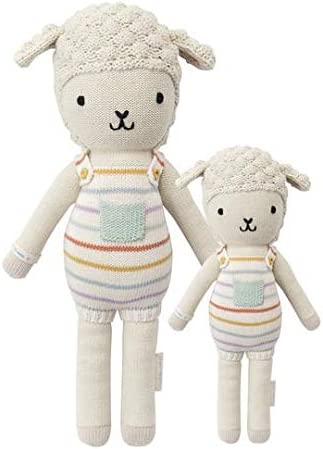 CUDDLE KIND Avery The Lamb Little 13 Hand-Knit Doll 1 Doll 10 Meals, Fair Trade, Heirloom Quality, Handcrafted in Peru, 100 Cotton Yarn