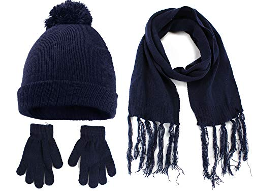 Polar Wear Boys Knit Hat, Scarf And Gloves Set- Navy, OS (Boys Hats And Gloves)