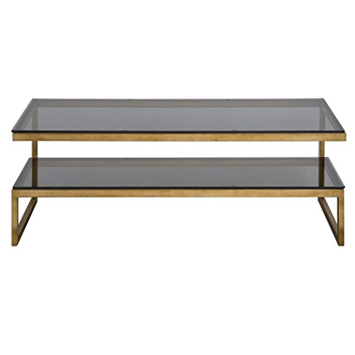 Elegant Tiered Gold Gray Glass Coffee Table | Shelf Modern Black