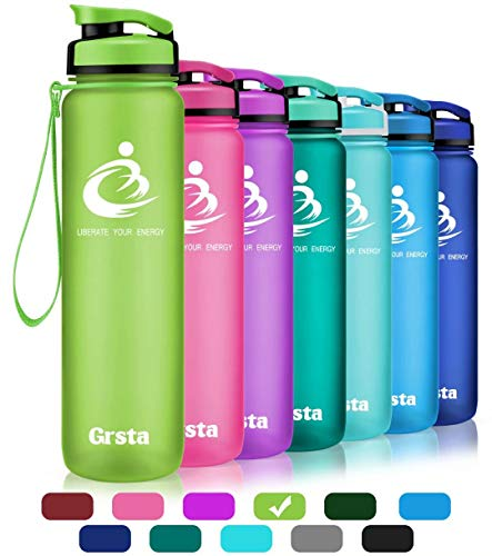 Grsta Sport Water Bottle 28oz(800ml), Wide Mouth Leak Proof BPA Free Eco-Friendly Plastic Drink Best Water Bottles for Outdoor/Running/Camping/Gym w Flip Top Lid & Filter Open with 1-Click(Green) ()