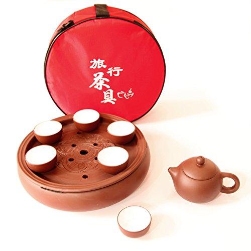(Tea Soup & Fine Day Chinese Portable Ceramic Travel Tea Set Double Dragon)