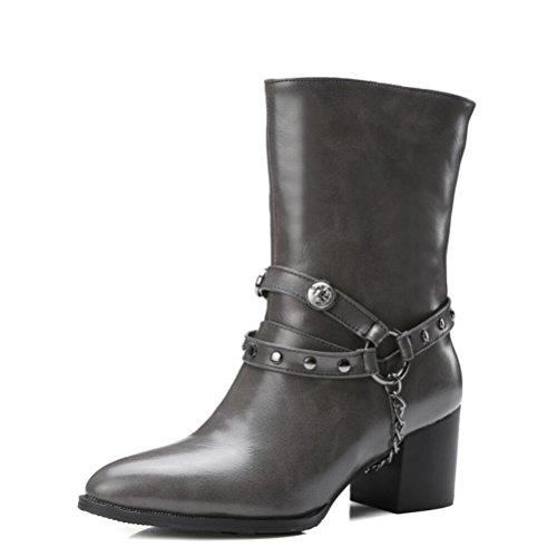 Ei&iLI Rivets de chaussures femmes haut talon bottes / a souligné Toe High Boots Dress , gray , 48