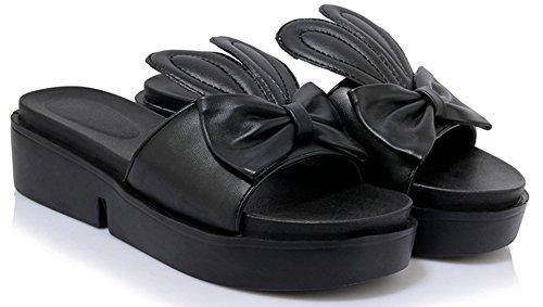 Noeud Mignon Aisun Bout Femme Noir Mules Epais Ouvert EwpnS1q