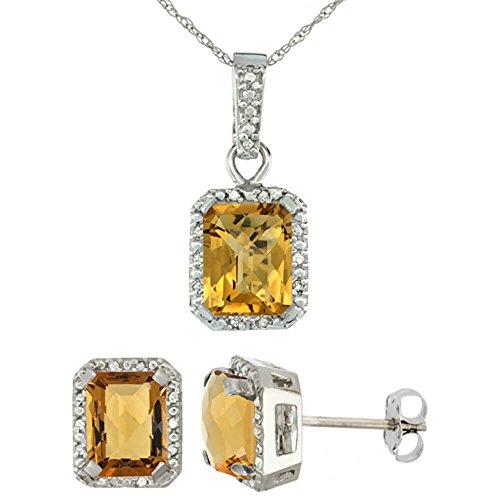 Or blanc 9Ct naturel octogone 8x 6mm à whisky Quartz Boucles d'oreilles et pendentif Set Accents de diamant