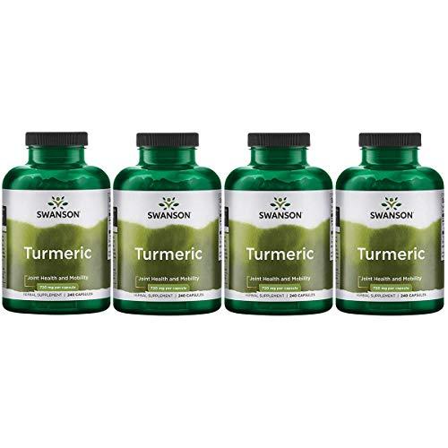 Swanson Turmeric Curcumin Antioxidant Joint Health Cardiovascular Liver Detox Mood Memory Support Supplement Curcuma Longa 720 mg per Cap (1.44 Grams per 2 Cap Serving Size) 240 Capsules (4 Pack)