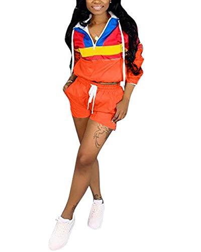 Women's 2 Piece Sportsuit- Long Sleeve Color Block Hooded Crop Top Bodycon Short Pants Set (X-Large, Orange)