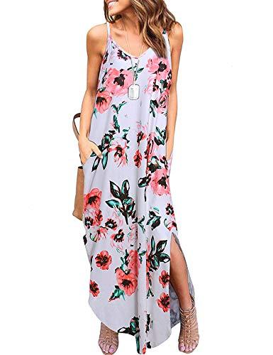 (Women's Summer Maxi Dress Casual Loose Pockets Long Dress Sleeveless Split Printed Cami Dress)