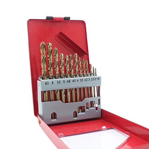 Migiwata 13PC Metric M35 Grade Cobalt Steel Twist Drill Bits - Metal Index Organizer Case and Straight Shank - 1.5mm to 6.5mm - Ideal for Drilling Cast Iron, Stainless Steel and Other Hard Materials ()