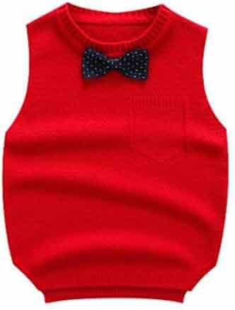 Tearmer Kids Sweater V-Neck Vest Cotton Cable-Knit Pullover School Uniforms for Boys//Girls