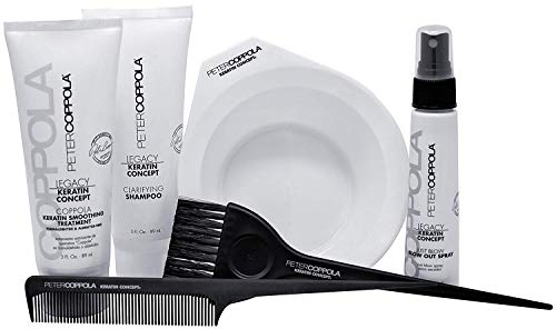 Peter Coppola Keratin Hair Treatment Kit - At Home Keratin Treatment - Includes: Treatment (3oz) Shampoo (3oz) Bowl, Just Blow Spray (3zz), Brush and Comb. Straightens and Smooths All Hair Types (The Best Keratin Treatment At Home)