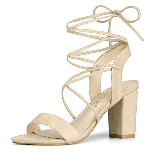 Allegra Heel Lace Open Sandals Up Beige Donna Tacco Alto K rwaSqEr