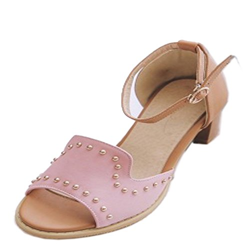 TAOFFEN Mujer Clasico Peep Toe Sandalias Tacon Ancho Tacon Medio Al Tobillo Gladiador Zapatos Rosado