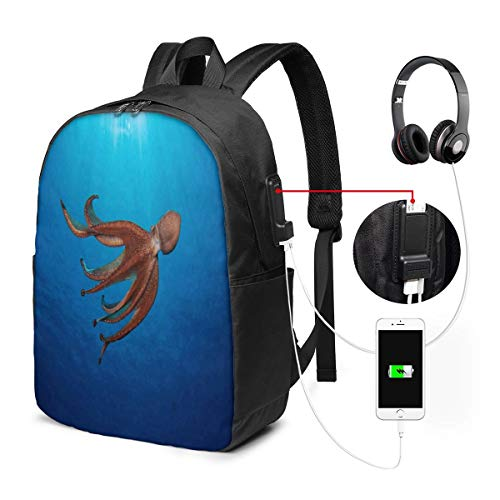 17 Inch Laptop Backpack USB Port Does an Octopus Have A Soul Travel Computer Bag for Women Men College Business