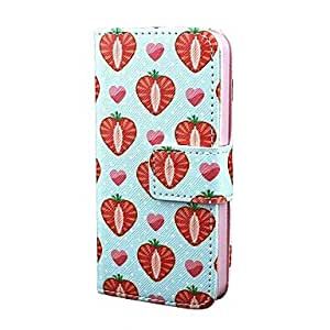 JAJAY Chocolate Strawberry PU Leather Full Body Case with Card Holder for iPhone 5/5S