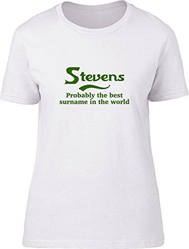 Stevens probablemente la mejor apellido en el mundo Ladies T Shirt blanco