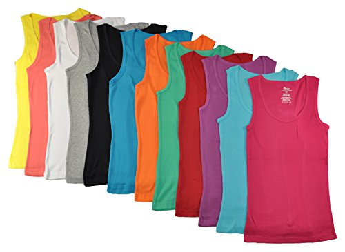 Grip Collections 12-Pack of Women's Ribbed Cotton Muscle Tank Tops, (Ladies Ribbed Tank)