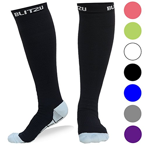 Blitzu Compression Socks 20-30mmHg for Men & Women BEST Recovery Performance Stockings for Running, Medical, Athletic, Edema, Diabetic, Varicose Veins, Travel, Pregnancy, Relief Shin Splint S Black - Ted Stockings Dvt