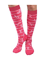 Womens Snoozies Breast Cancer Ribbons Cotton Knee High Length Socks