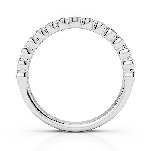 Or blanc 18carats 0,21CT G-H/VS Certifié Coupe ronde Tourmaline Rose et diamants Agdr-1102