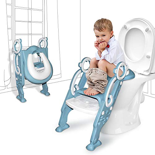 GrowthPic Toddler Toilet Seat with Step Stool Ladder for Boy and Girl Baby Potty Training Seat Kid's Toilet Trainer Seat Chair, Blue (Potty Soft Stool Seat And Step)