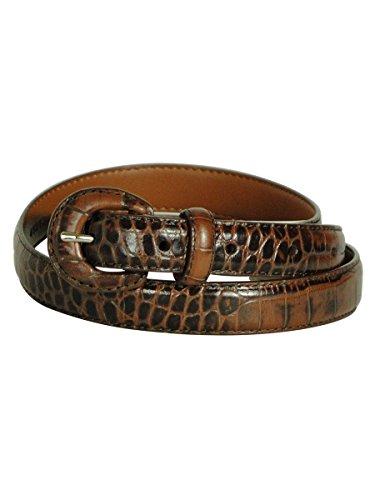 Lauren Ralph Lauren Women's Chestnut Textured Leather Belt - - Belt Crocodile Brown