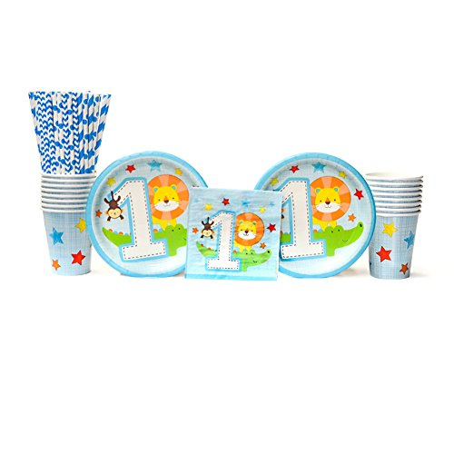 One is Fun! Boy Birthday Party Decorations Party Supplies Pack: Straws, Dessert Plates, Beverage Napkins, and Cups