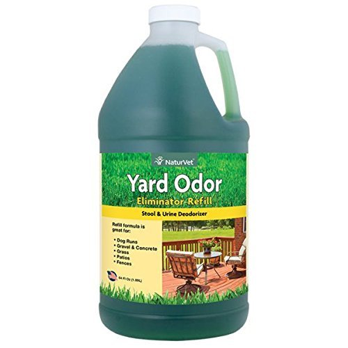 NaturVet - Yard Odor Eliminator | Eliminate Stool and Urine Odors from Lawn and Yard | Designed for Use on Grass, Plants, Patios, Gravel, Concrete & More (64 oz Refill) (Yard Odor Killer Stool Urine Deodorizer Review)