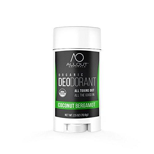 All Out Naturals Organic Deodorant, Best Natural Deodorant for Women and Men, For Sensitive Skin, Aluminum Free, Vegan, Non Toxic, 2.5 oz Stick (Coconut Bergamot)