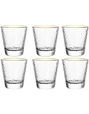 Glass Cup Set (6 Pcs), Light Luxury Hammered Embossed Gold Rim Cup, Retro Glass Cup, Tea Cup and Tea Set for Home and Office, (10oz)