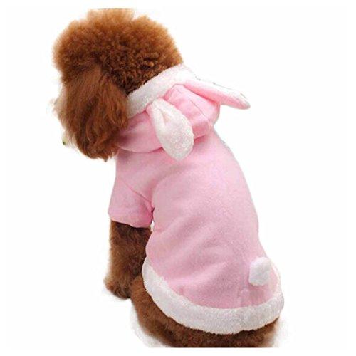 [Inkach Dog Sweater Clothing, Fashion Cute Rabbit Plush Puppy Pet Hoodie Costume Clothes Apparel (M,] (Cute Female Dog Costumes)