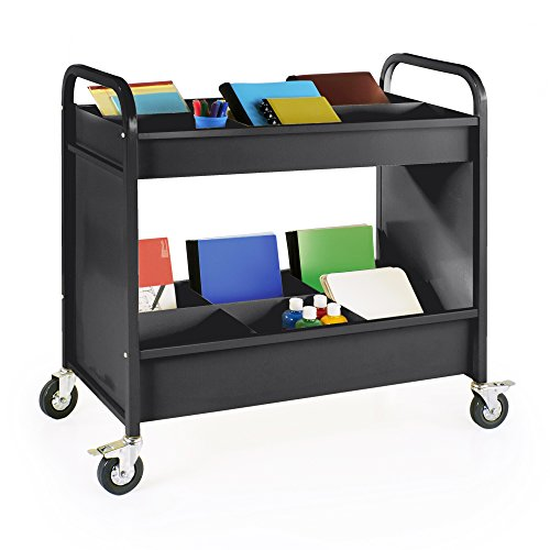 Library Cart School Book - Heavy Duty 4-Wheel Everything Cart, Rolling 2-Shelf Metal Utility and Book Storage (Black), Office Furniture and School Supply