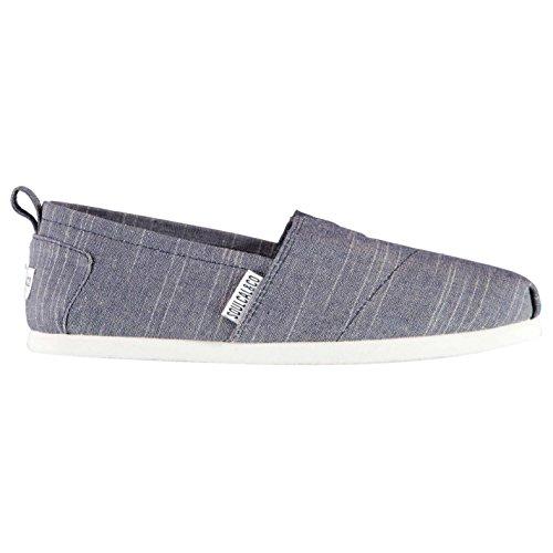 SoulCal Long Beach Damen Leinenschuhe Canvas Slipper Slip On Leicht Schuhe Blau Chambray