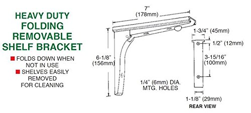 CHG Heavy Duty Folding Removable Shelf Bracket - 300 Series Stainless Steel Mount - J17-4273